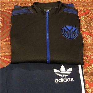 Adidas sweat pants and Adidas Knicks Track jacket
